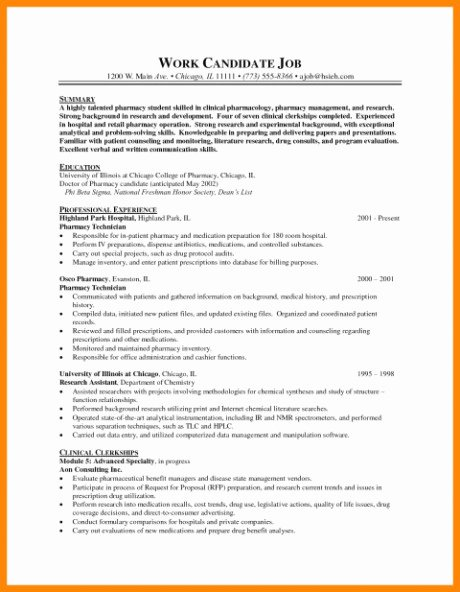Pharmacy Curriculum Vitae Template Lovely Curriculum Vitae Examples Pharmacy New Collection
