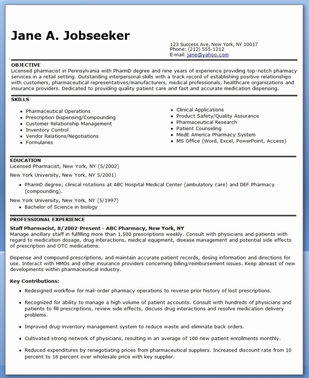 Pharmacy Curriculum Vitae Template Luxury Pharmacist Resume Sample