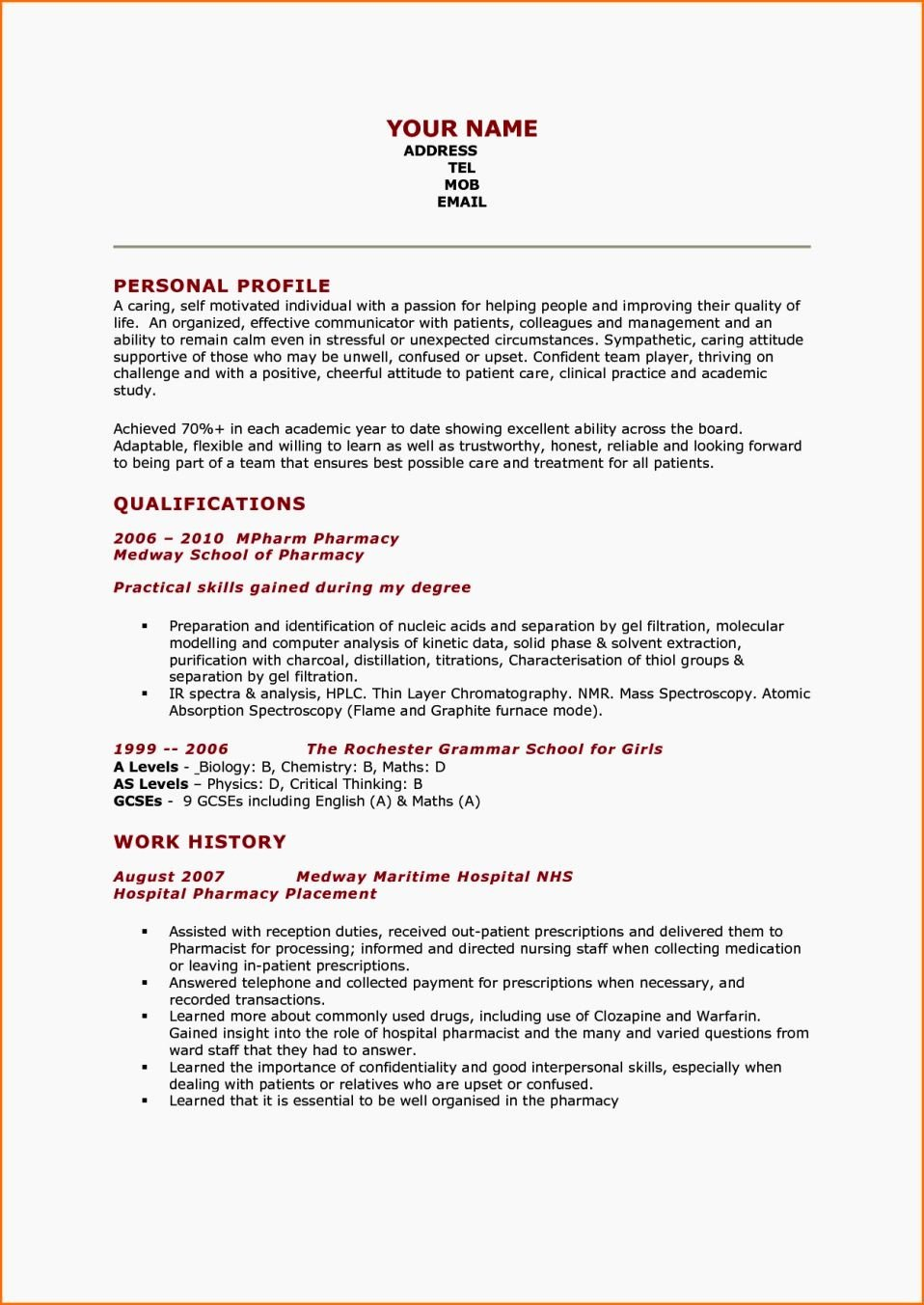 Pharmacy Curriculum Vitae Template Luxury Pharmacy Cv Examples Pharmacy Student Cv Example Resume