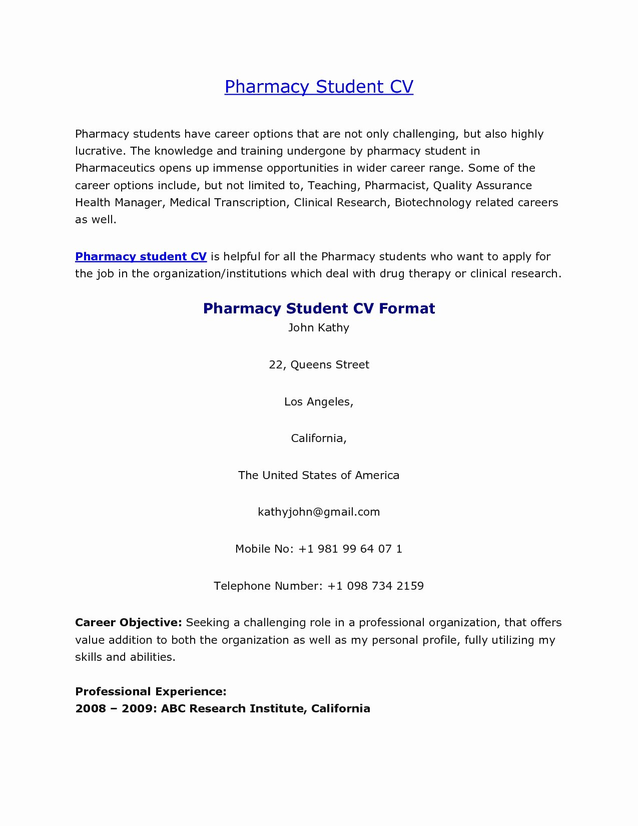 Pharmacy Curriculum Vitae Template New Resume format for Pharmacy Graduates Earpod