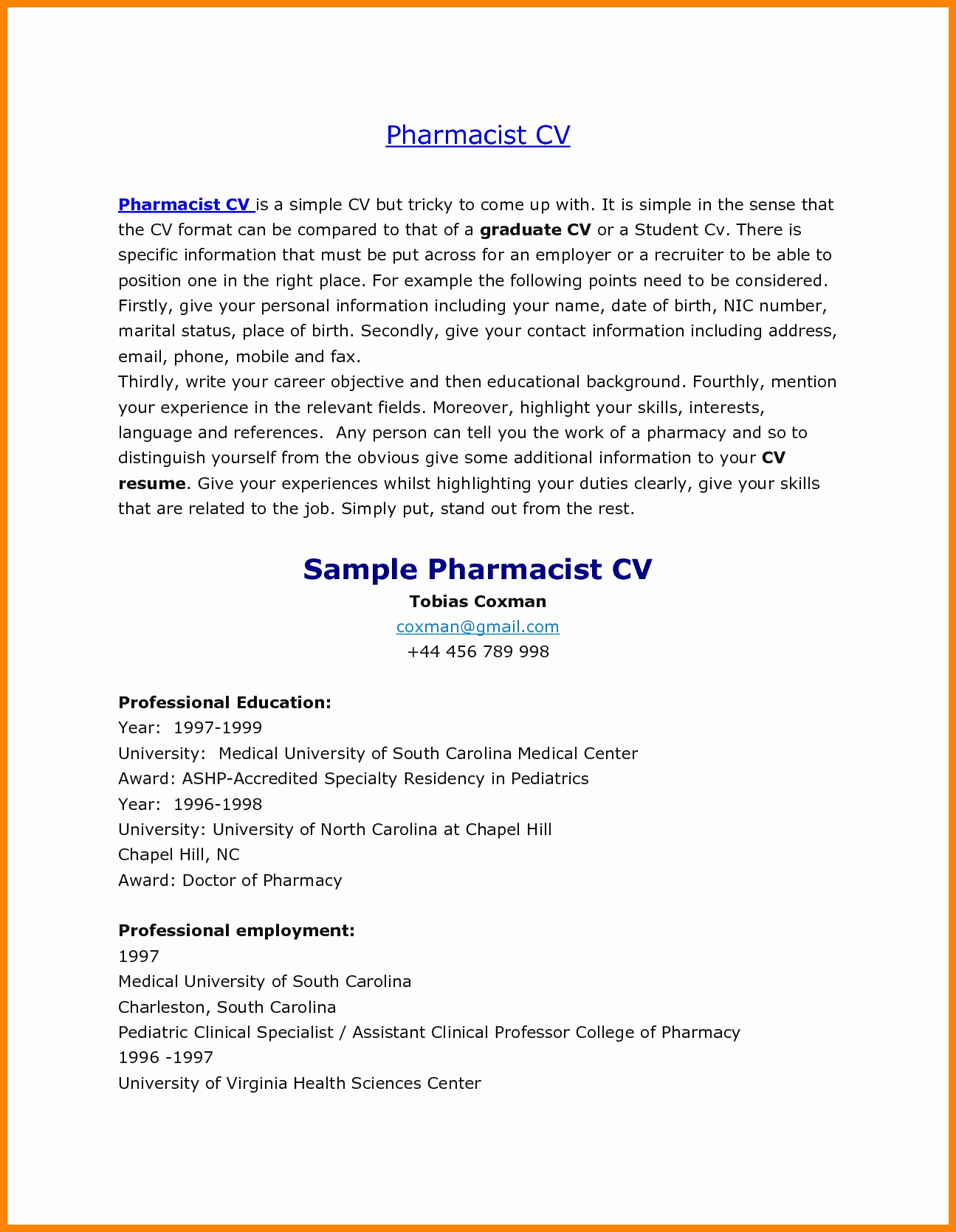 Pharmacy Curriculum Vitae Template Unique 6 Cv Samples for Pharmacists
