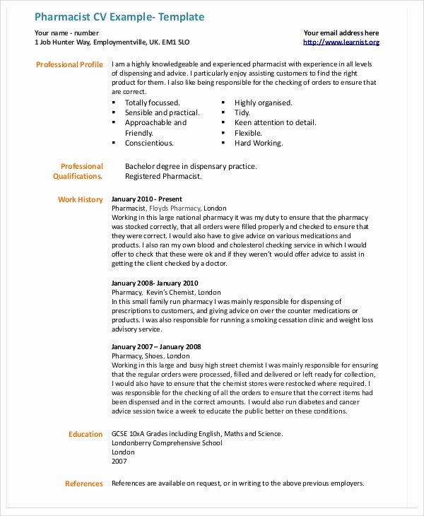 Pharmacy Curriculum Vitae Template Unique 9 Pharmacist Curriculum Vitae Templates Pdf Doc