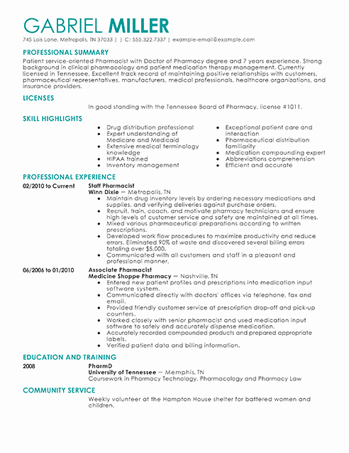 Pharmacy Curriculum Vitae Template Unique Best Pharmacist Resume Example