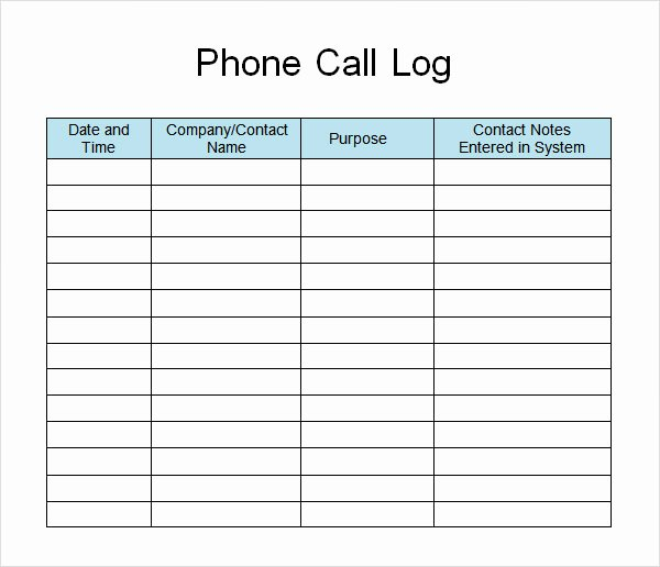 Phone Call Log Template Beautiful 13 Sample Call Log Templates – Pdf Word Excel Pages