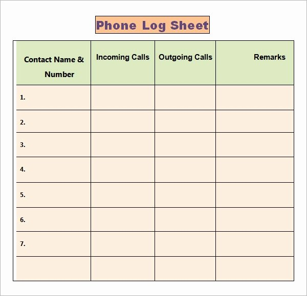 Phone Call Log Template Beautiful Phone Log Template 8 Free Word Pdf Documents Download