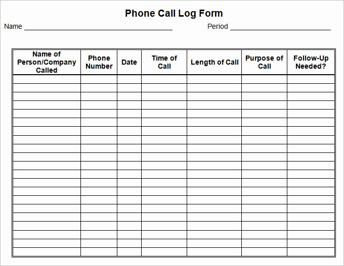 Phone Call Log Template Inspirational 15 Call Log Templates Doc Pdf Excel