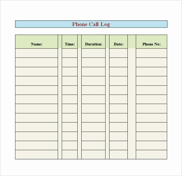 Phone Call Log Template Lovely Phone Log Template 8 Free Word Pdf Documents Download
