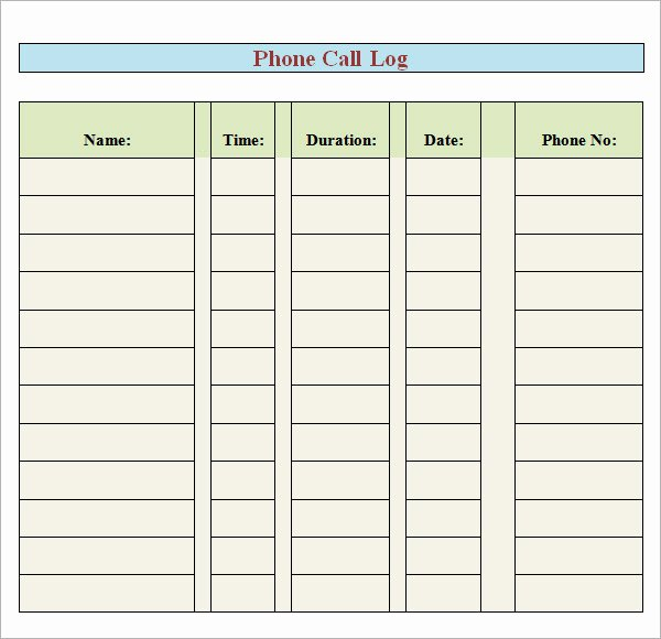 Phone Call Log Template Luxury 8 Sample Printable Phone Log Templates