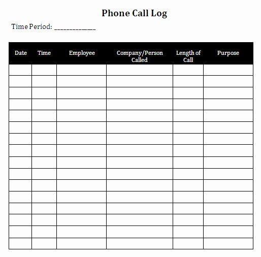 Phone Call Log Template New Call Log Template