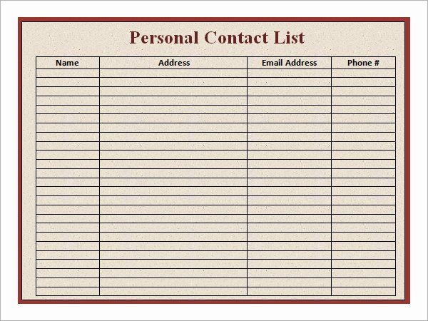 Phone Contact List Template Best Of Contact List Template 14 Download Free Documents In Pdf