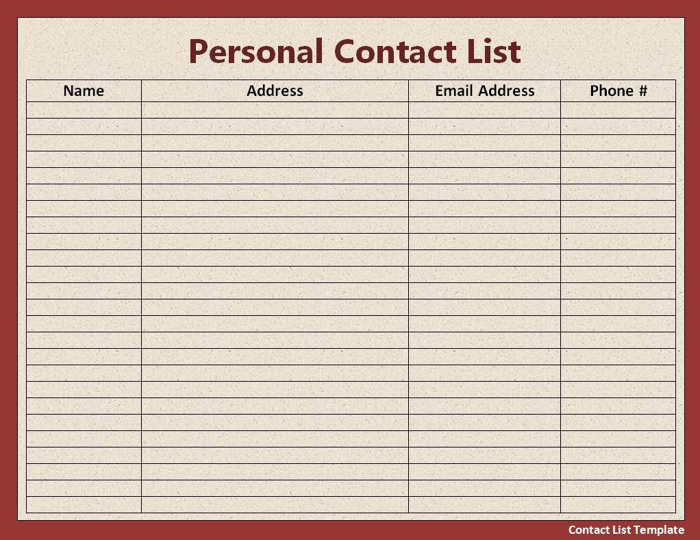Phone Contact List Template Best Of Free Contact List Template