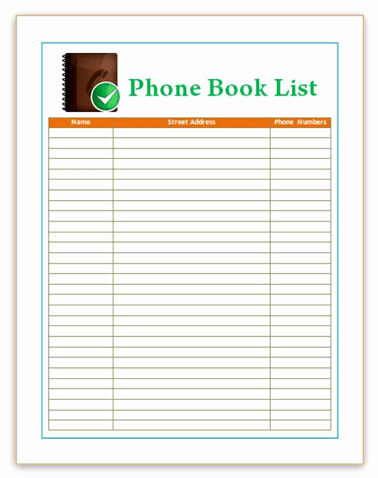 Phone Contact List Template Fresh 7 Best Of Phone Directory Template Printable Free