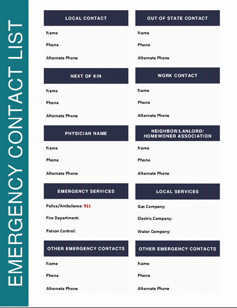 Phone Contact List Template Inspirational Emergency Contact List