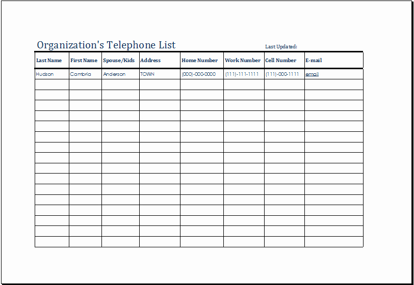 Phone Contact List Template Inspirational organization S Telephone List Template