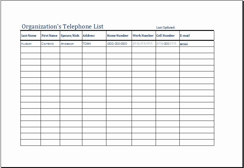 Phone Contact List Template Inspirational organization S Telephone List Template