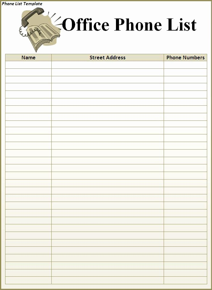 Phone Contact List Template Inspirational Phone List Template Best Word Templates