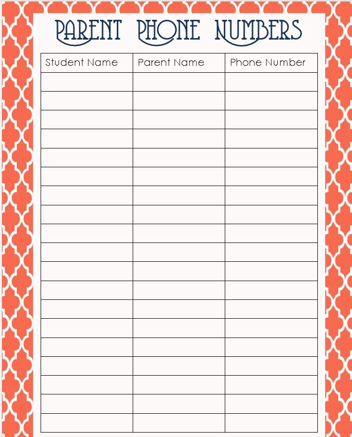 Phone Number List Template Beautiful 6 Best Of Phone Number List Template Printable