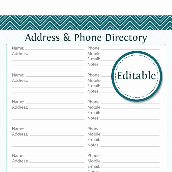 Phone Number List Template Best Of Address & Phone Directory Fillable Printable Pdf Instant