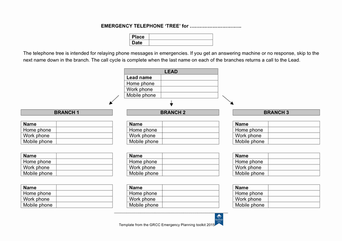 Phone Tree Template Excel Lovely Emergency Telephone Tree form In Word and Pdf formats
