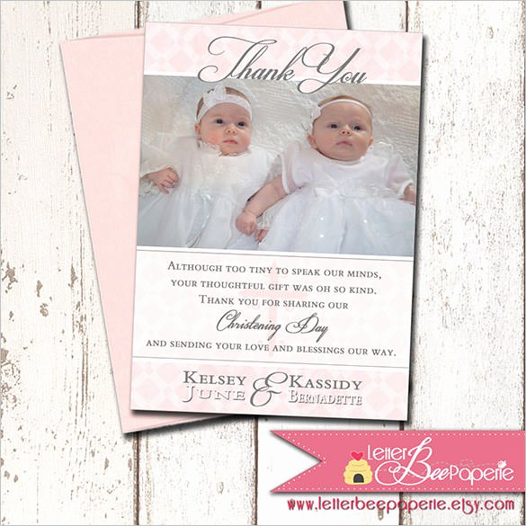 Photo Thank You Card Template Awesome 23 Christening Thank You Cards Ai Psd Google Docs