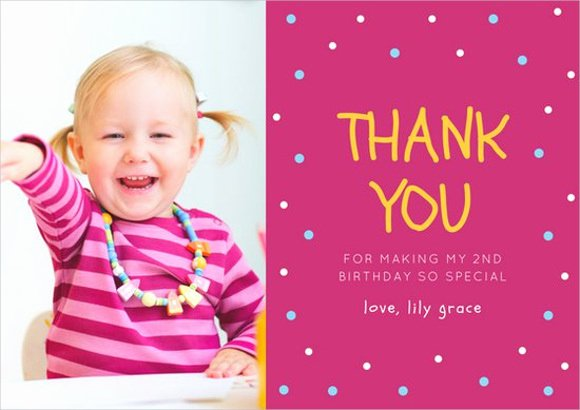Photo Thank You Card Template Beautiful 10 Birthday Thank You Cards Design Templates
