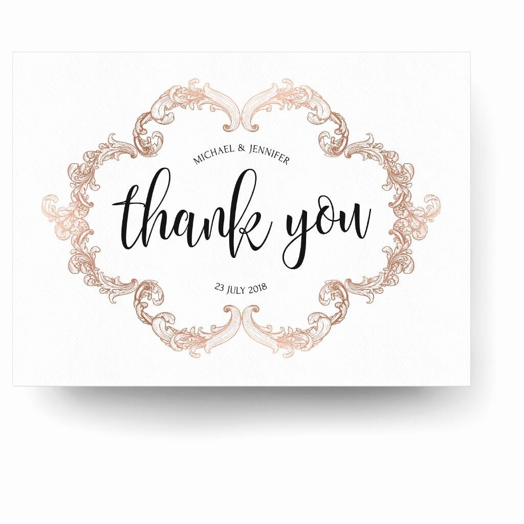 Photo Thank You Card Template Fresh Rose Gold