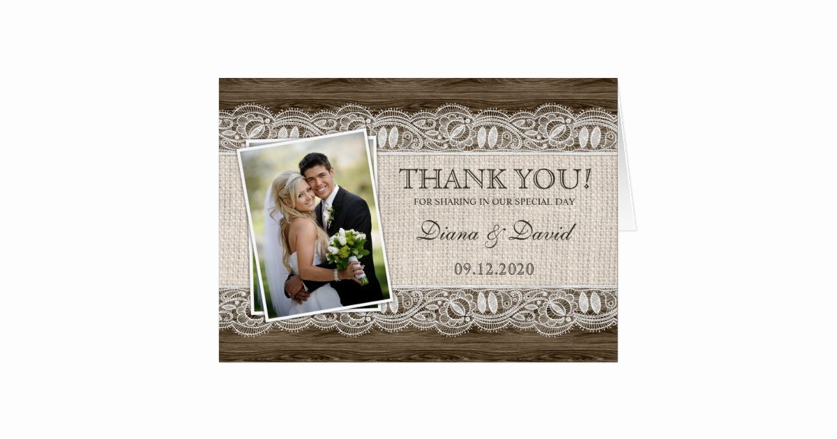 Photo Thank You Card Template Fresh Rustic Wedding Thank You Cards Template
