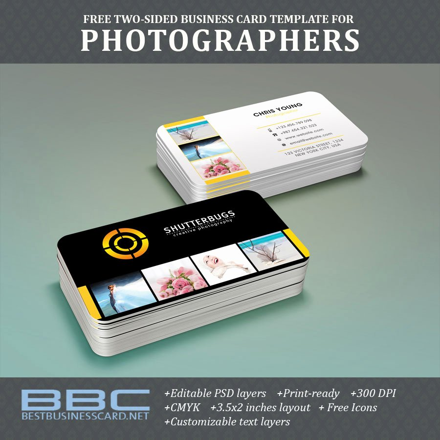 Photographer Business Card Template Beautiful Free Two Sided Business Card Template for Graphers