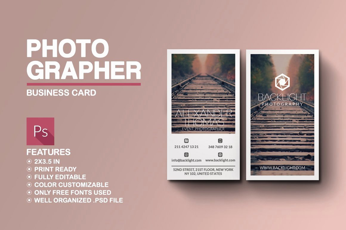 Photographer Business Card Template Beautiful Grapher Business Card Business Card Templates