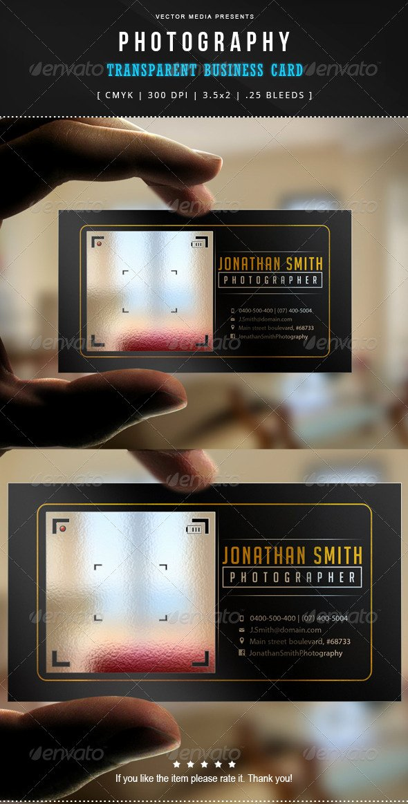 Photographer Business Card Template Best Of Graphy Transparent Business Card by Vectormedia