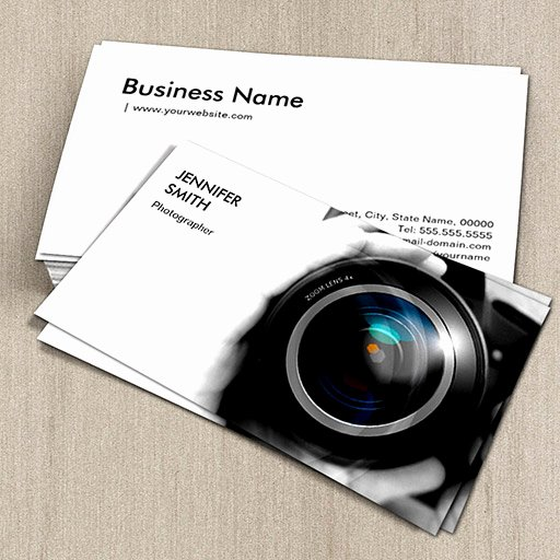 Photographer Business Card Template Unique Simply Black and White Grapher Camera Lens