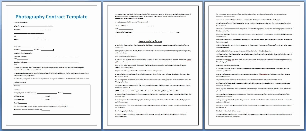 Photography Contract Template Free Beautiful Professional Graphy Contract Template Free
