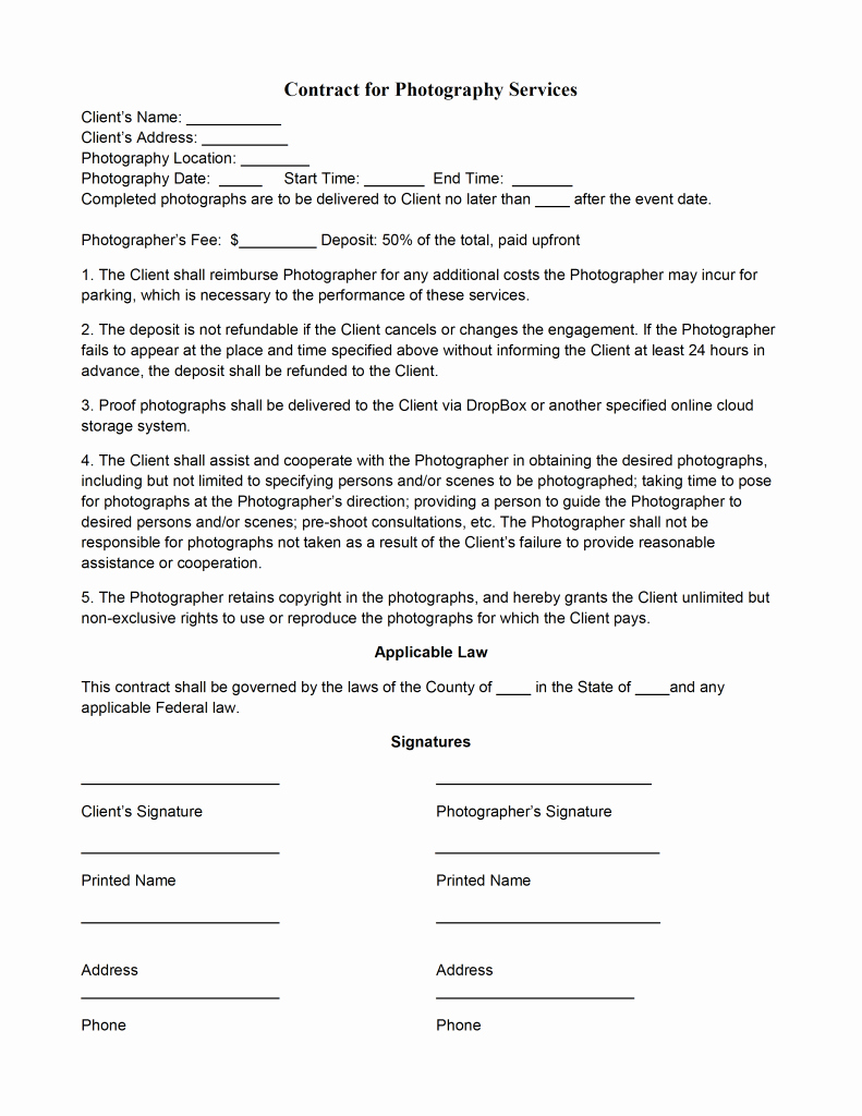 Photography Contract Template Free Best Of Graphy Contract Template