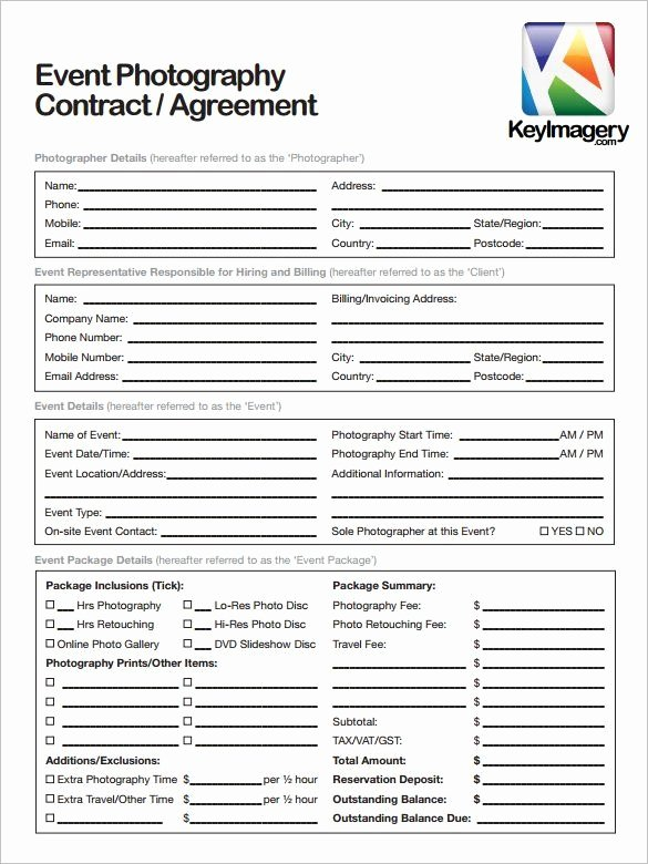 Photography Contract Template Free Best Of Sample Graphy Contract Template 20 Graphy