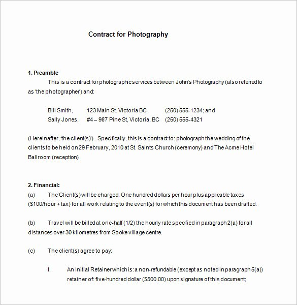 Photography Contract Template Free Elegant 7 Mercial Graphy Contract Templates Free Word