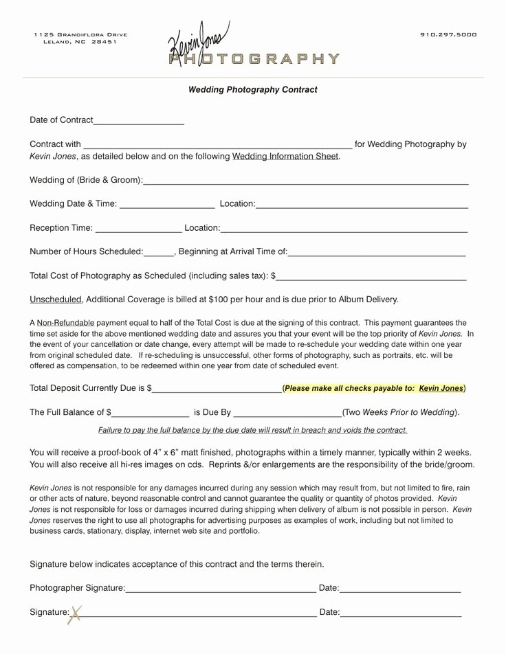 Photography Contract Template Free Elegant Wedding Photography Contract