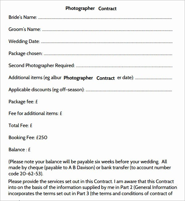 Photography Contract Template Free Fresh Graphy Contract 7 Free Pdf Download
