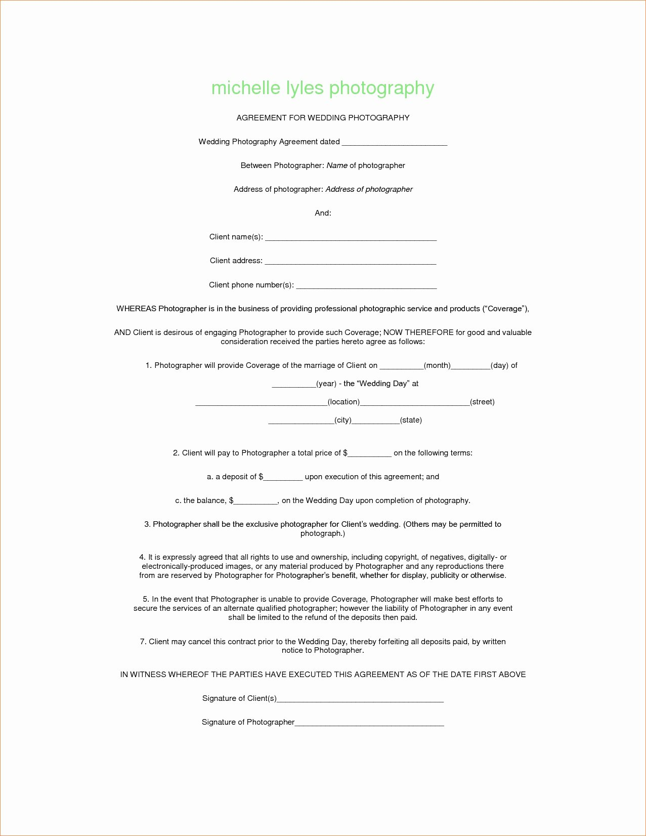 Photography Contract Template Free Fresh Graphy Contract Template