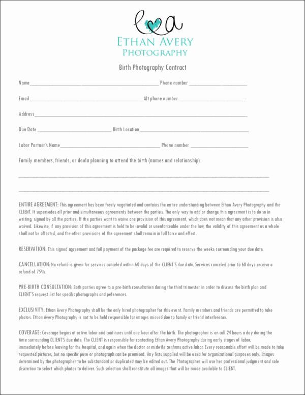 Photography Contract Template Free Inspirational 19 Graphy Contract Templates
