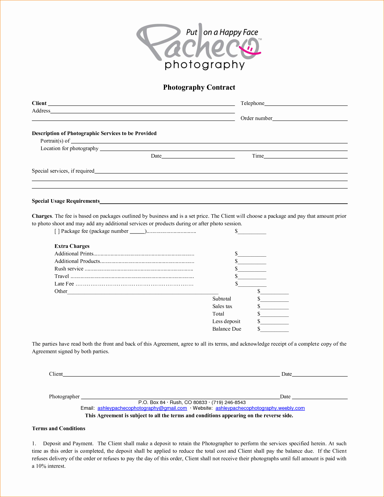 Photography Contract Template Free Lovely 5 Graphy Contract Template