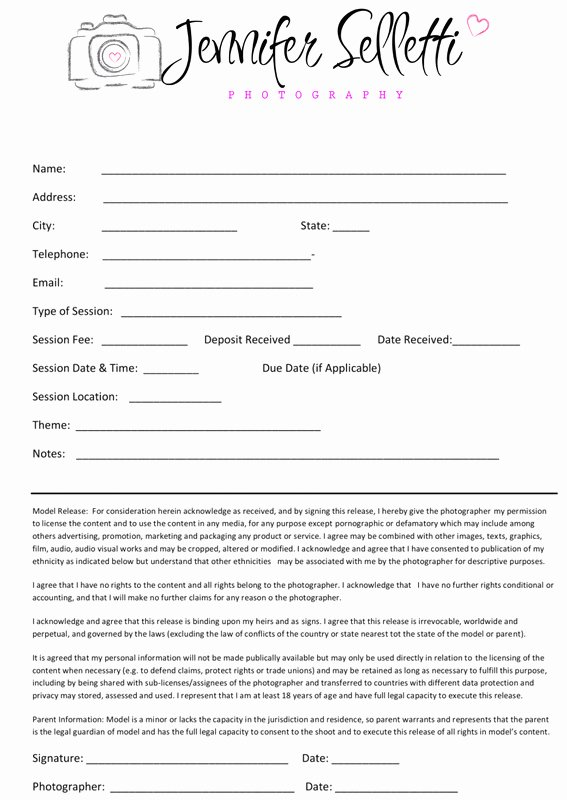 Photography Contract Template Free New Graphy Contract Child & Family Graphy