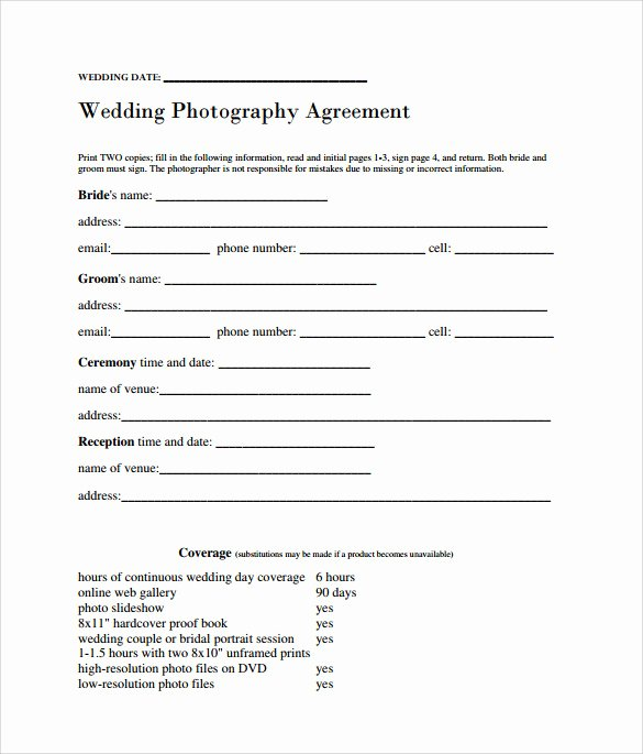 Photography Contract Template Free New Sample Wedding Contract 14 Documents In Pdf Word