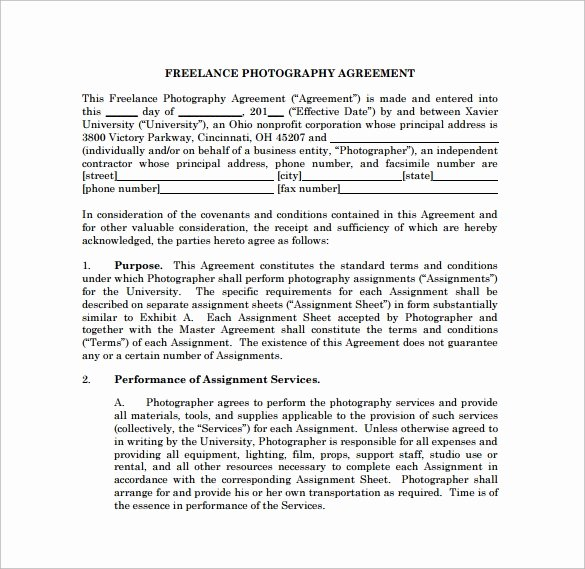 Photography Contract Template Free Unique Graphy Contract 9 Download Free Documents In Word Pdf