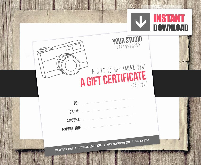 Photography Gift Certificate Template Free Beautiful Gift Card Gift Certificate Template for Graphers Camera