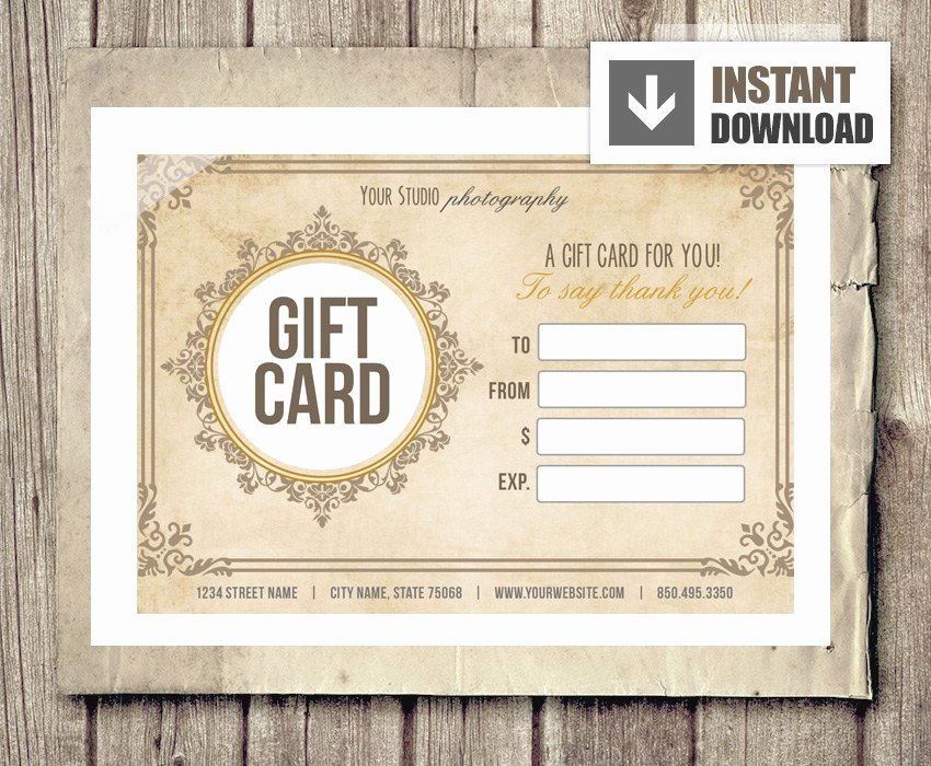 Photography Gift Certificate Template Free Luxury Gift Card Certificate Template for Graphers Vintage