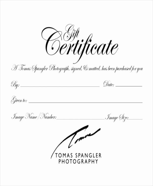 Photography Gift Certificate Template Free Luxury Gift Certificate Template 8 Free Word Pdf Document