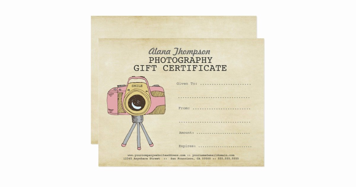 Photography Gift Certificate Template Free New Grapher Graphy Gift Certificate Template Card
