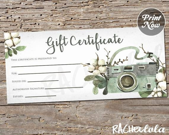 Photography Gift Certificate Template Free Unique Floral Cotton Camera Printable Gift Certificate Template