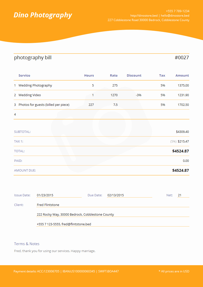 Photography Invoice Template Word Awesome Graphy Invoice Template Jade