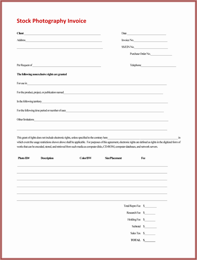 Photography Invoice Template Word Fresh 5 Graphy Invoice Templates to Make Quick Invoices